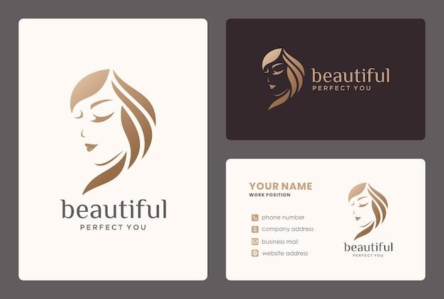 Logotipo de mujer elegante con tarjeta de visita para salón, peluquero, cambio de imagen, cuidados de belleza.