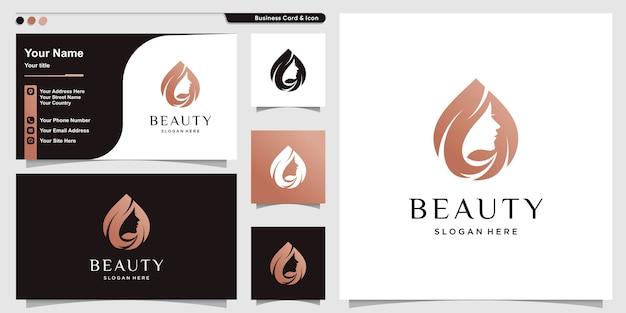Logotipo de mujer con estilo moderno de belleza y plantilla de diseño de tarjeta de visita