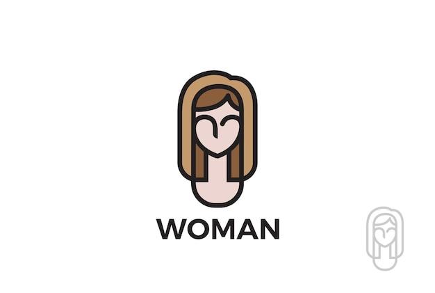 Logotipo de mujer niña. estilo lineal abstracto. belleza spa maquillaje cosméticos logotipo de moda