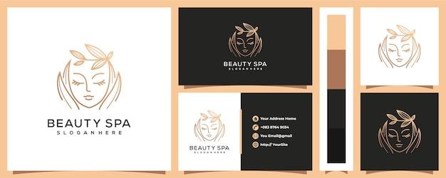 Logotipo de mujer de spa de belleza de lujo con plantilla de tarjeta de visita