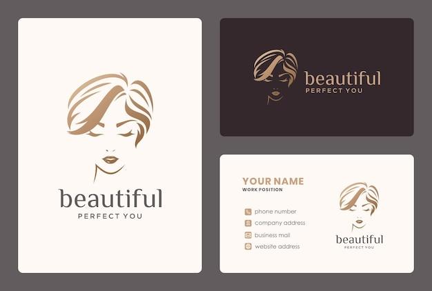 Logotipo de mujer y tarjeta de visita para salón de belleza, peluquería, cambio de imagen.