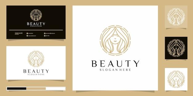 Logotipo de mujeres de belleza. diseño de logotipo y tarjeta de visita