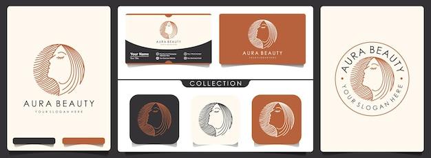 Logotipo de mujeres de belleza con plantilla de tarjeta de visita.