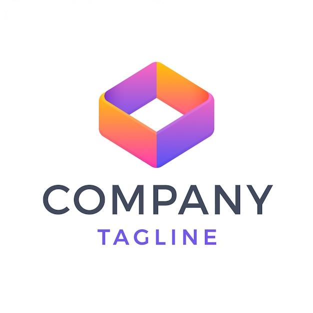 Logotipo multicolor degradado de diamante cuadrado geométrico 3d abstracto
