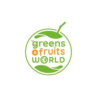 Logotipo del mundo de frutas y verduras verdes, icono de logotipo de frutas frescas verdes