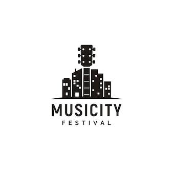 Logotipo de music and city skyline