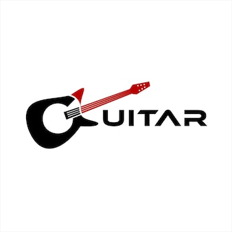 Logotipo de música diseño de texto de guitarra simple