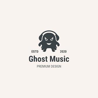 Logotipo de la música fantasma. logotipo de estilo vintage. logotipo para empresa, fantasma de la música.