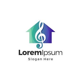 Logotipo de música house premium color degradado