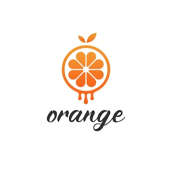 Logotipo naranja goteante moderno minimalista simple