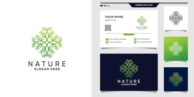 Logotipo de naturaleza abstracta con estilo de arte lineal y diseño de tarjeta de visita