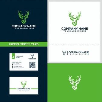 Logotipo de naturaleza ciervos y plantilla de concepto de diseño de tarjeta de visita