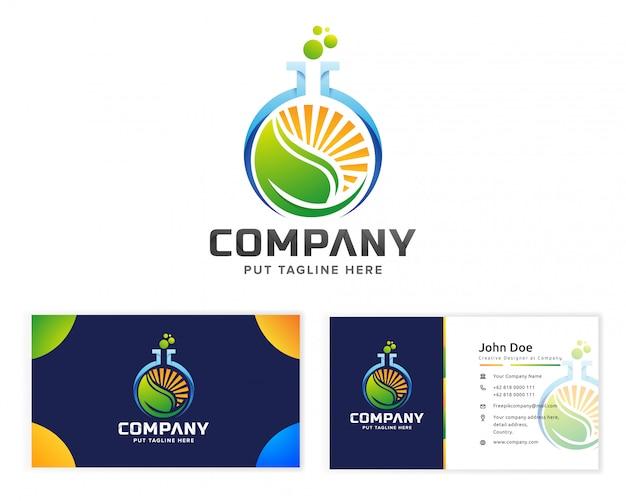 Logotipo de naturaleza eco ciencia laboral