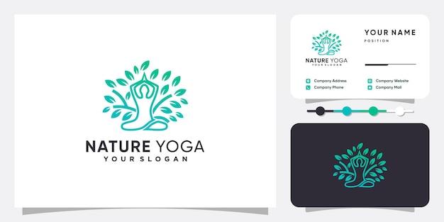 Logotipo de naturaleza yoga con concepto abstracto moderno vector premium