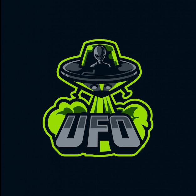 Logotipo de la nave espacial y la mascota alienígena para deporte y deporte aislado en la oscuridad