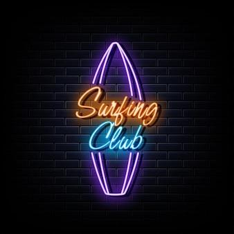 Logotipo de neón del club de surf, símbolo de neón