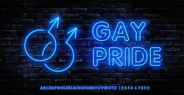 Logotipo de neón del orgullo gay. plantilla de vector de letreros de neón lgbt.