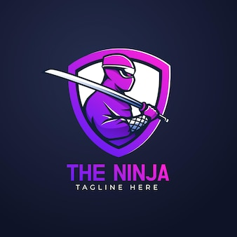 Logotipo de ninja con diferentes detalles.