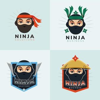 Logotipo de ninja de diseño plano