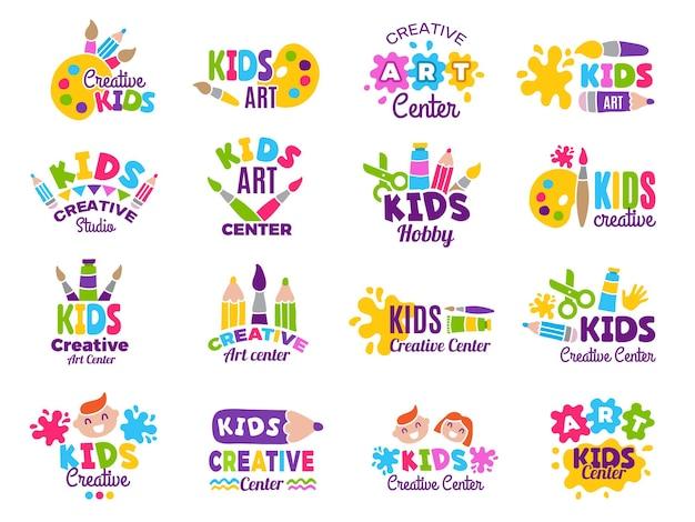 Logotipo de niños creativos. clase de creatividad artesanal y pictórica para colección de emblemas de identidad infantil.