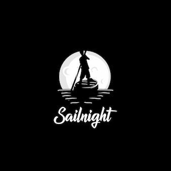 Logotipo de la noche barco de vela