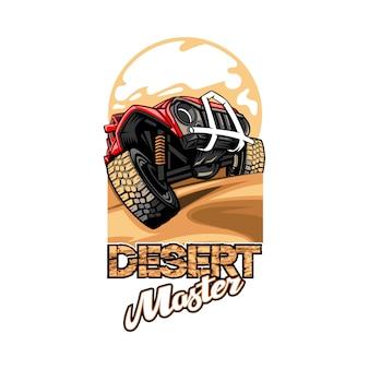 Logotipo con el nombre desert master con suv superando las colinas.