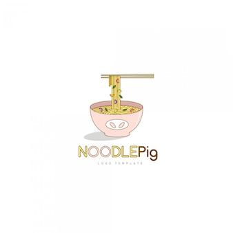 Logotipo de noodle pig plantilla para el logotipo del restaurante de cocina asiática