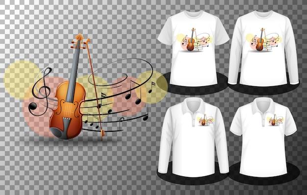 Logotipo de notas musicales de violín con un conjunto de diferentes camisetas con pantalla de logotipo de notas musicales de violín en las camisetas