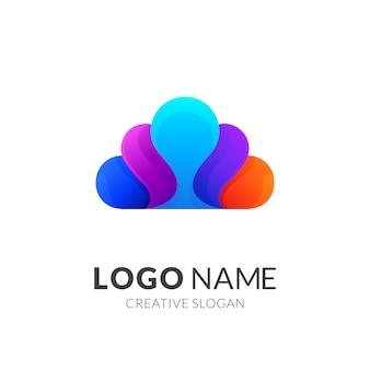 Logotipo de nube de colores + logotipos 3d