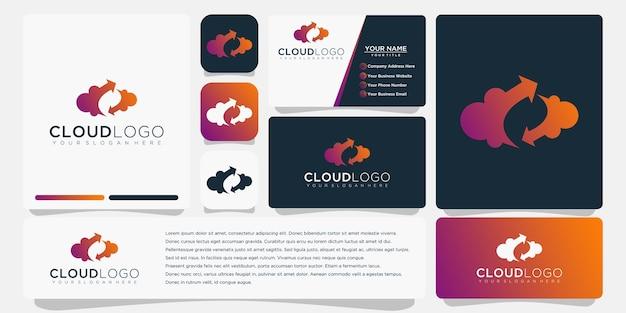 Logotipo de nube con diseño de plantilla de tarjeta de visita