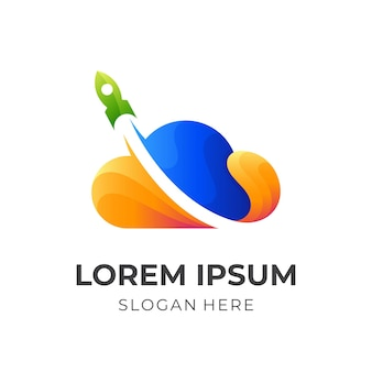 Logotipo de nube rápida, nube y cohete, logotipo de combinación con estilo colorido 3d