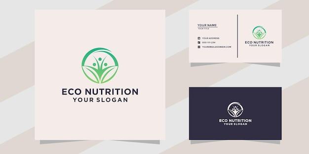 Logotipo de nutrición ecológica y plantilla de tarjeta de visita
