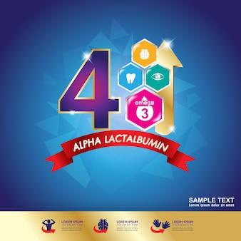 Logotipo de nutrición vitamina omega 3 para leche, concepto de producto para niños