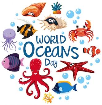 Logotipo o banner del día mundial de los océanos con diferentes animales marinos.