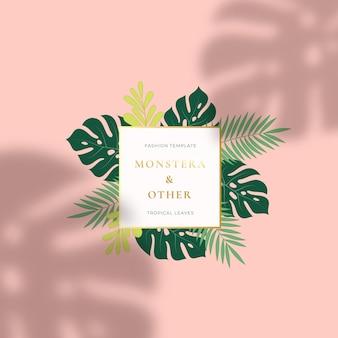 Logotipo o cartel de verano de hojas tropicales de monstera