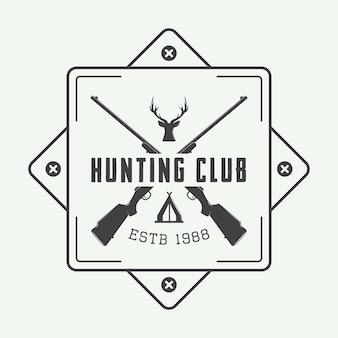 Logotipo o insignia de caza vintage y elementos de diseño.
