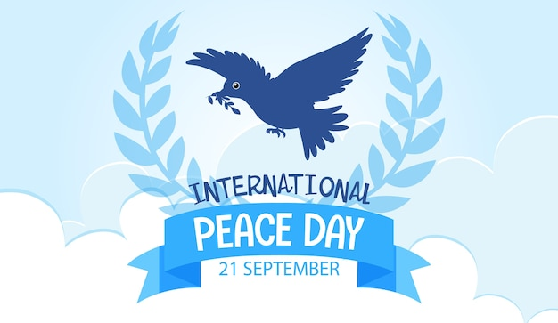 Logotipo o pancarta del día internacional de la paz con palomas y ramas de olivo