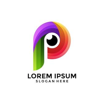 Logotipo de ojo colorido de letra p