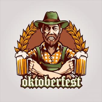 El logotipo de oktoberfest del hombre cerveza