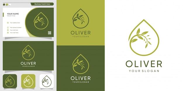 Logotipo de oliver y plantilla de diseño de tarjeta de visita, gota, marca, aceite, belleza, cosmética, icono, salud,