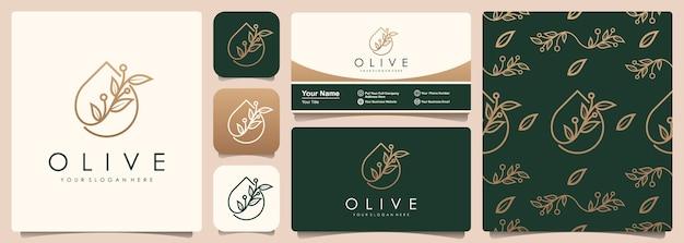 Logotipo de olivo y aceite con conjunto de plantilla de patrón y tarjeta de visita.