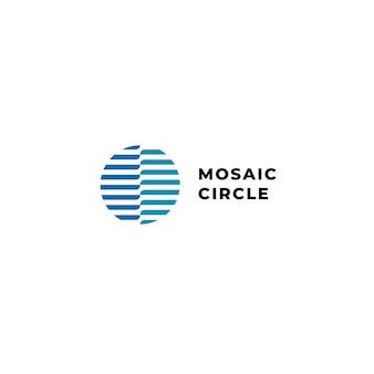 Logotipo de onda abstracta circular con color azul