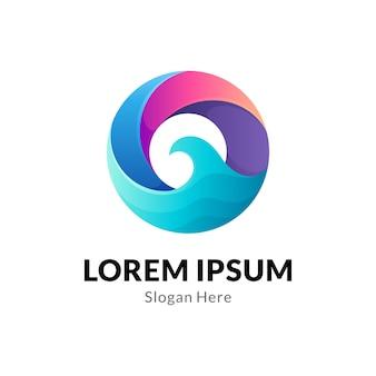 Logotipo de onda de círculo abstracto