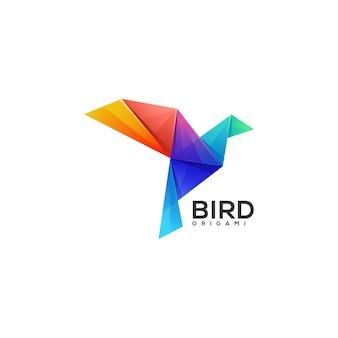 Logotipo de origami pájaro degradado estilo colorido