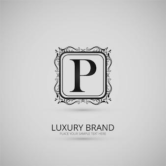 Logotipo ornamental de la letra p