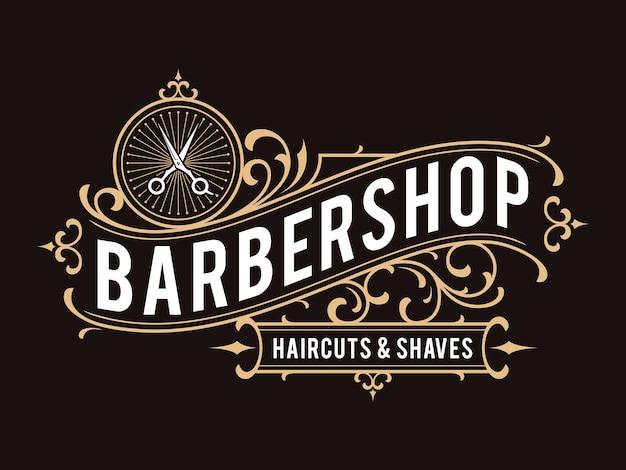 Logotipo ornamental vintage de barbería