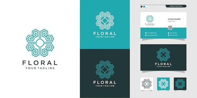 Logotipo de ornamento floral con estilo de línea de arte y diseño de tarjeta de visita, lujo, abstracto, belleza, icono premium