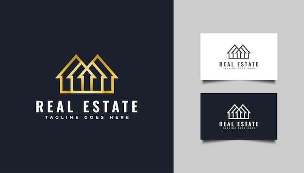Logotipo de oro de bienes raíces en estilo de línea. plantilla de diseño de logotipo de construcción, arquitectura o edificio