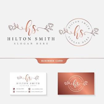 Logotipo de oro rosa y tarjeta de visita