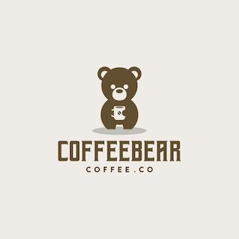 Logotipo de oso de café creativo